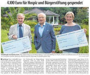 4.100 Euro für Hospiz und Bürgerstiftung gespendet